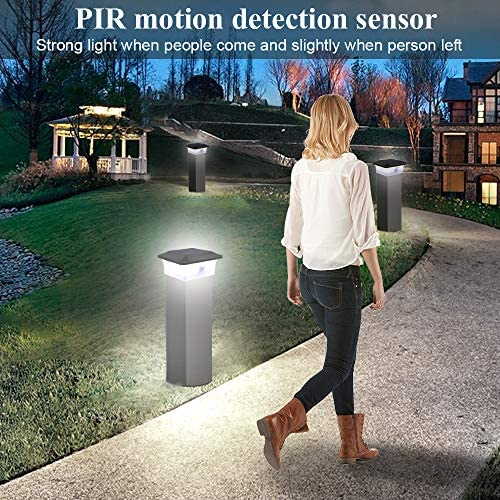 Outdoor Solar Post Lights, Sumaote Motion Sensor Solar Post Cap Light for Deck Step Patio Garden or Fence Lighting, Super Bright Solar Powered White LED Lighting Lamp Fits for 4×4 Posts 8 Pack