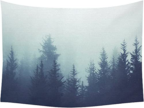 INTERESTPRINT Landscape Nature Scenery Wall Art Home Decor, Mysterious Tree Forest on Fog Mountain Tapestry Wall Hanging Art Sets 80 X 60 Inches