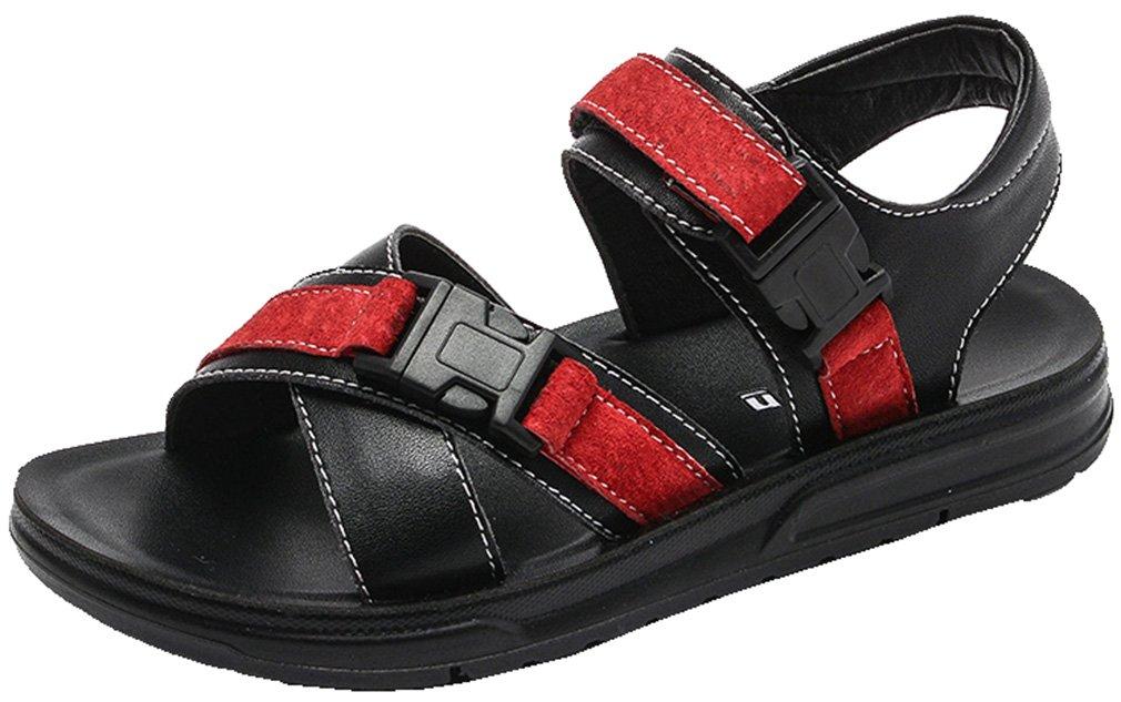 VECJUNIA Boy's Outdoor Flat Sandals Buckle Open-Toe Summer Running Shoes (Black, 10 M US Toddler)
