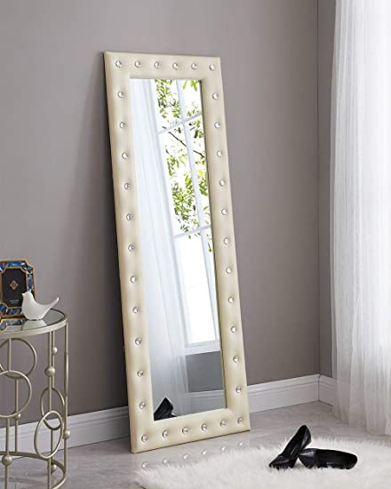 Naomi Home Crystal Tufted Mirror Beige