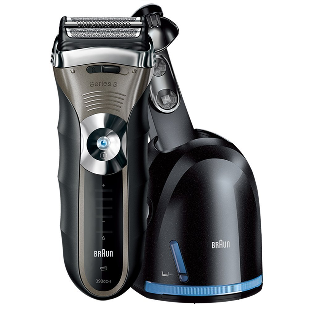 Braun Series 3 390cc Men s Electric Foil Shaver Electric Razor with Charging Station, Black Silver