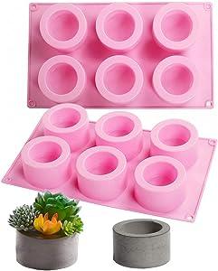 2Pcs 6 Cavities Cylinder Flower Pot Silicone Molds Succulent Plant Pot Concrete Mold Planter Cement Plaster Molds Ice Shot Glass Molds Storage Box Epoxy Resin Casting Mold