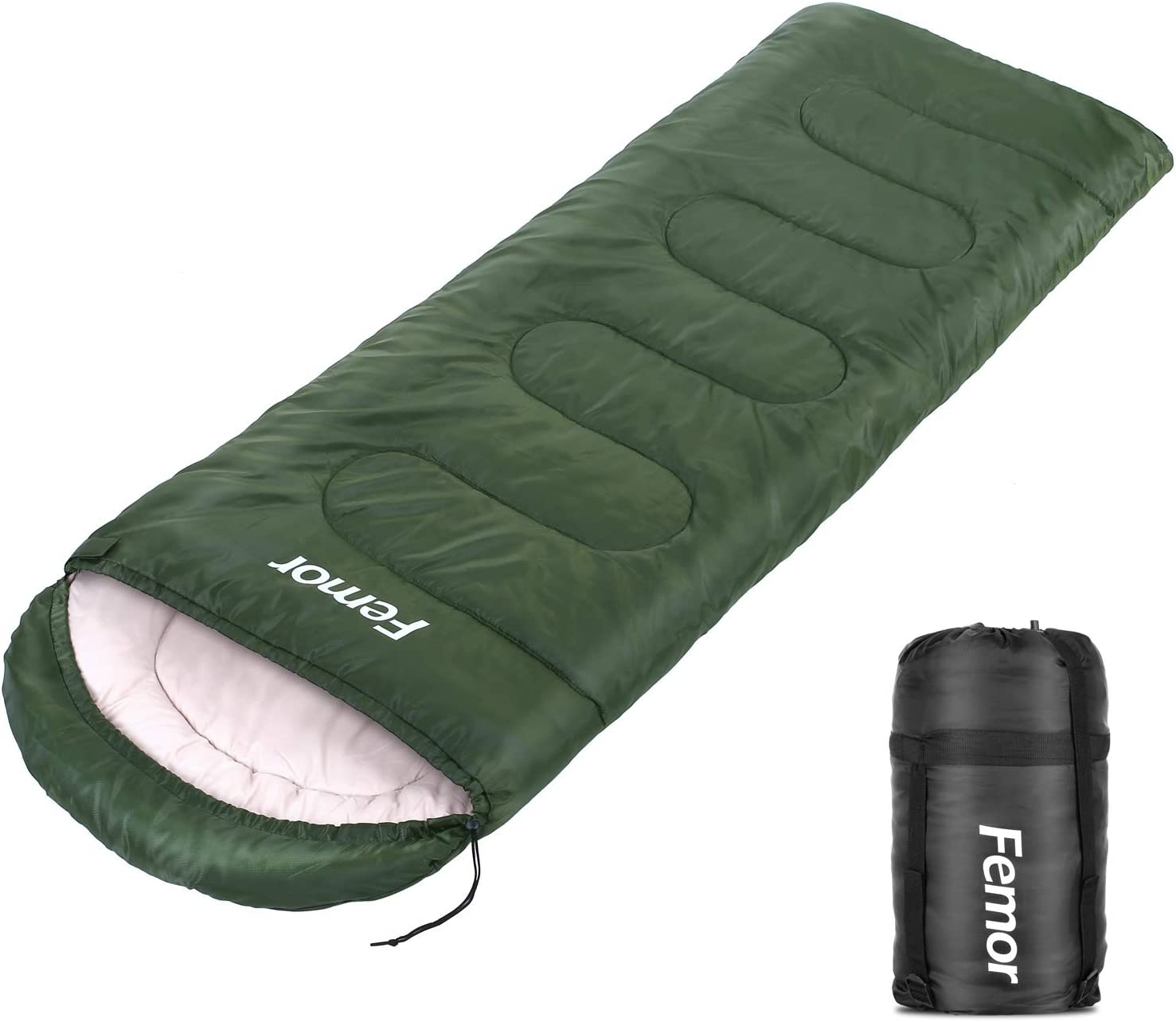 femor Sleeping Bag Lightweight, Comfortable and Waterproof, 3 Season Spring, Fall Winter Cold Weather for Traveling, Camping, Hiking, Backpacking Outdoor Activities, Adults and Kids.
