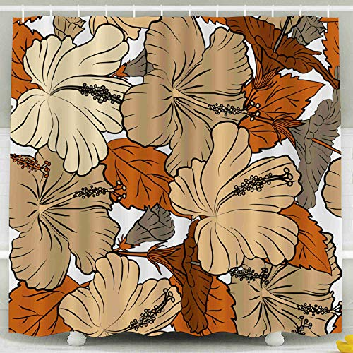 ROOLAYS Fabric Shower Curtain, Design in Brown Orange Colors Invitation Wedding Greeting Cards Floral Pattern Hibiscus Flowers Decorative for Home Décor 78x72 Inch Bathroom Fabric Shower Curtains