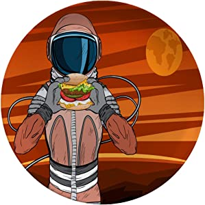 Porcelain Dinner Plates Astronaut With Fast Food Hamburger In Pop Art Style Cosmonaut On Mars Planet Dinner Plates For Indoor And Outdoor Use,break-resistant,8 Inch