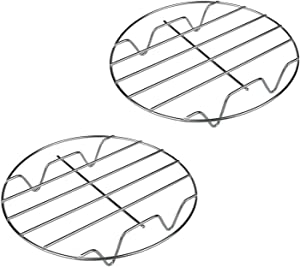 Konrisa 8 Inch Cooling Rack Round Stainless Steel Steamer Rack Stand for Baking Cooking Pizza Holder Cake Plate Pot Food Holder for Pressure Cooker Air Fryer Set of 2