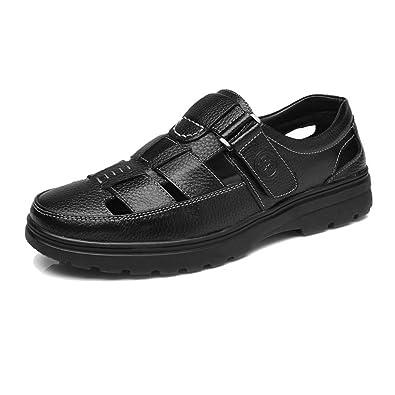 Ruiyue Männer Slipper Schuhe, Einfaches Design Echtes Rindsleder Oberen Slip-on Flache Sohle Loafer für Herren (Farbe : Brown, Size : 38 EU)