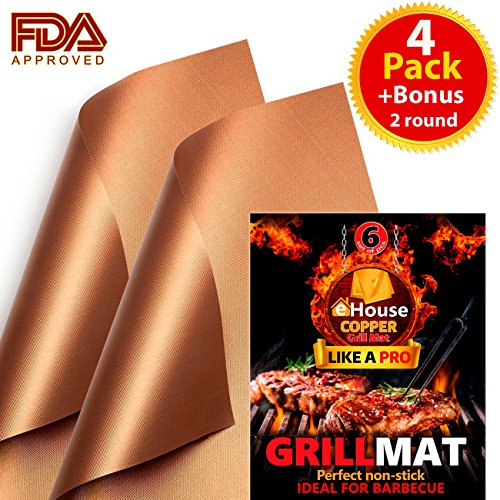 Price comparison product image Copper Grill Mat & Bake Mat, Set of 6 pcs [4 rectangular & 2 round] Non-Stick, Reusable, BBQ Grill & Baking Mats, Easy to Clean - PTFE Teflon Fiber, For Gas, Charcoal, Electric Grills and Oven