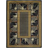 1'11''x7'4'' Grey Beige Black Bear Cubs Wildlife Printed Runner Rug, Indoor Animal Pattern Living Room Rectangle Carpet, Southwest Cabin Themed, Synthetic Material, Hunting Wild Nature Lodge Cottage