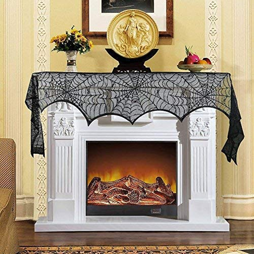 Jalc Halloween Decoration Cobweb Lace Spider Web Fireplace Mantle Scarf Cover Festive Party Supplies 18 x 98 inch Door Window Table Decoration Black Curtain Props