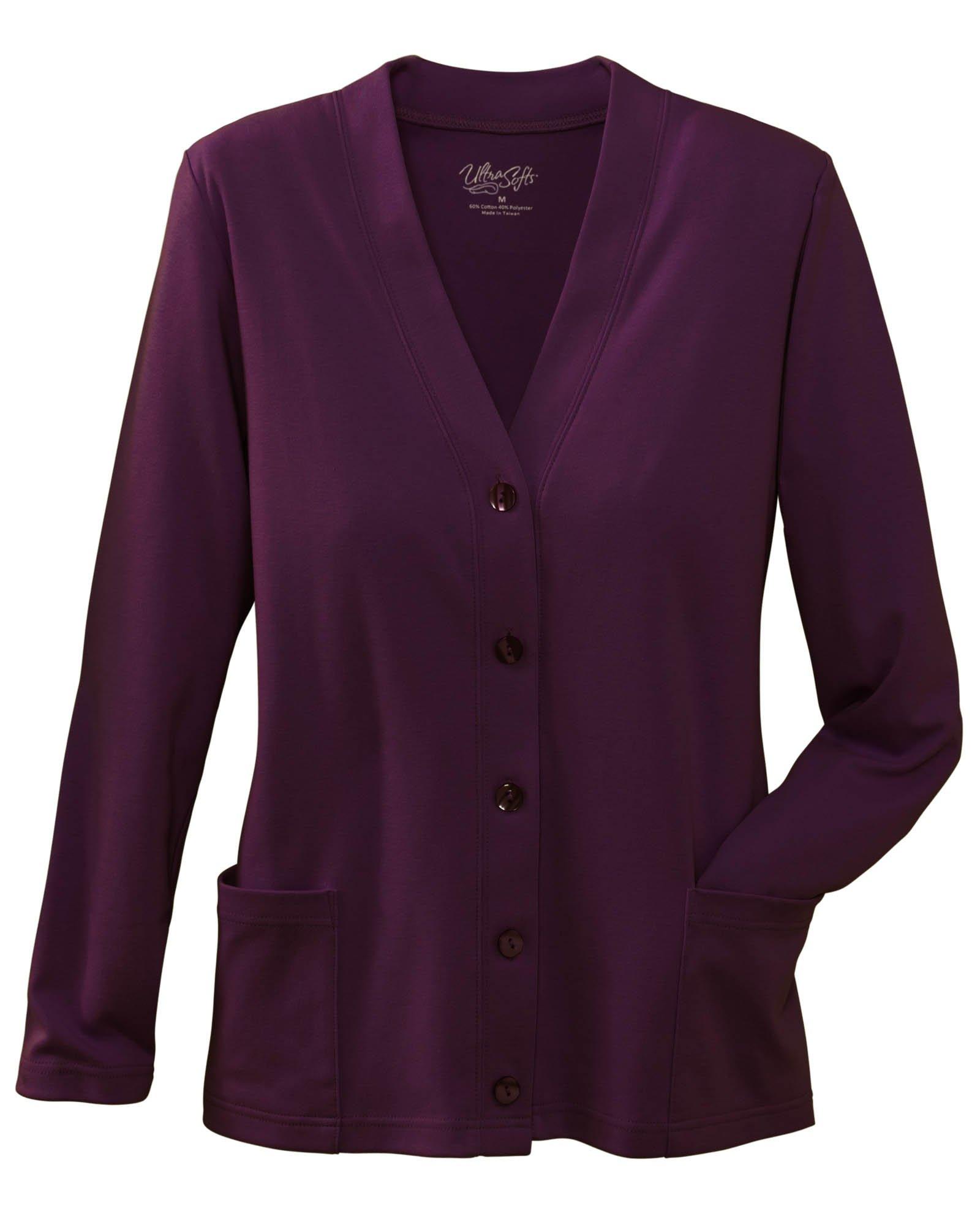 UltraSofts Button-Front Knit Cardigan, Purple, Petite Large