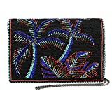 MARY FRANCES Panama Nights Beaded Bright Palm Trees Crossbody Clutch Handbag