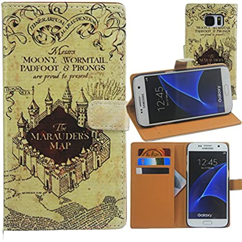 S7 Edge Case, Galaxy S7 Edge Case, Harryshell(TM) Hogwarts Map Wallet Folio Leather Flip Case Cover with Card Sales