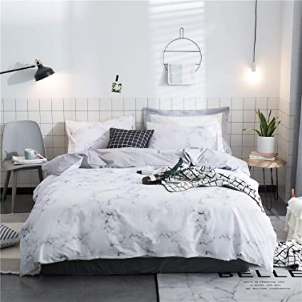 12f2372a6b OTOB Grey White Marble Print Duvet Cover Set with Pillow Shams for Kids  Adults Teen,