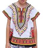 #9: Raan Pah Muang RaanPahMuang Unisex Bright African White Children Dashiki Cotton Shirt