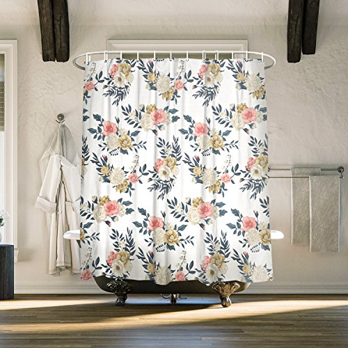 Vintage Peony Flower Fabric Shower Curtain Boho Floral Pattern Bathrooms Decor Design 72 X 78