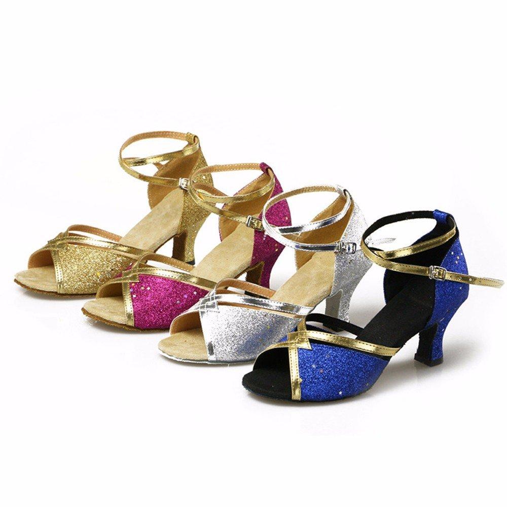 L'or Masocking@ Femme Chaussures de Danse Sandales Chaussures à haut talon paillettes dance-floor antistatique US6.5-7 EU37 UK4.5-5 CN37