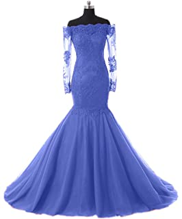 Promworld Womens Off The Shoulder Evening Dress with Sleeves Lace Mermaid Prom Formal Dresses