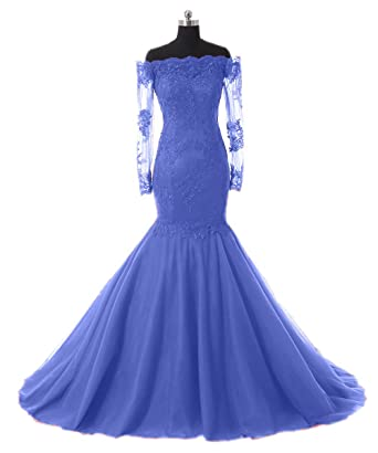 Promworld Womens Formal Mermaid Evening Dress Lace Long Sleeve Prom Dresses: Amazon.co.uk: Clothing