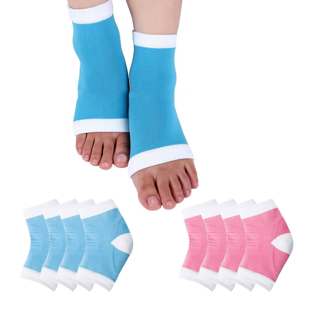 Jaciya 4 Pairs Moisturizing Silicone Gel Heel Socks for Dry Hard Cracked Skin Open Toe Comfy Recovery Socks Day Night Care 5''x2.83''