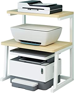 Printer Stand Desktop Stand for Printer 3-Tier Multifunction Storage Book Shelf Floor Printer Table Space Organizer Perfect for Office Living Room Kitchen (White)