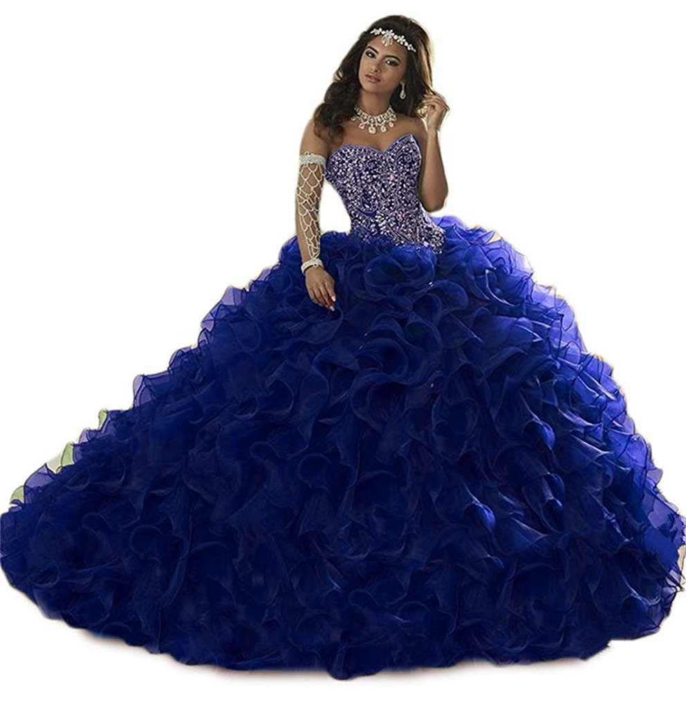 Zhu Li Ya Women's Beaded Organza Ball Gown Quinceanera Dresses Prom Gown Royalblue 6
