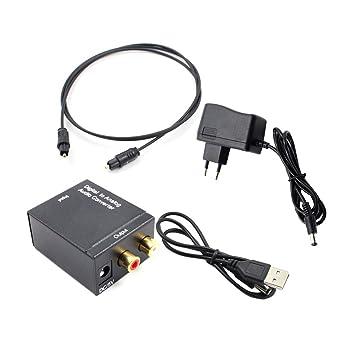 Adaptador convertidor de audio Toslink óptico y coaxial R/L Coaxial óptico digital para convertidor