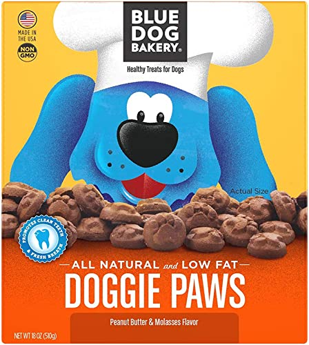 Blue Dog Bakery Natural Dog Treats, Doggie Paws, Original, Peanut Butter Molasses Flavor