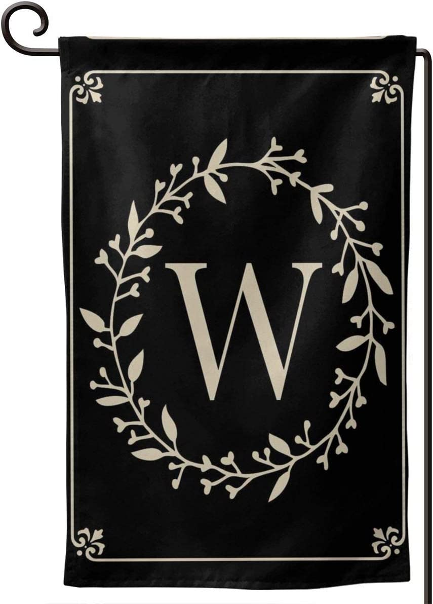 MSGUIDE Garden Flag Vertical Double Sided 12.5 X 18 Inch, Monogram Letter W Welcome House Flag Weather Resistant Banner for Seasonal Yard Outdoor Home Decor