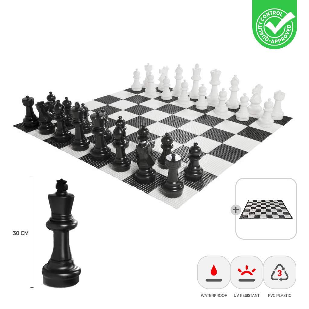Schachfiguren+Matte Ubergames XXXL Gartenschach Spiele - Giga Schachfiguren bis 30 cm Groß - Wasserdicht und UV-Besteändig (Schachfiguren+Matte)