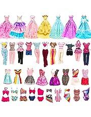 Miunana 21 kleding voor poppen = 5 jurken + 5 tops + 5 broeken/rokken + 3 avondjurken + 3 badpakken voor meisjespoppen van 11,5 inch