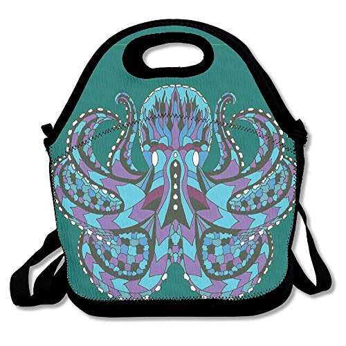 BCOWBONEOWGDF Adjustable Shoulder Strap Insulated Stylish Zentangle Stylized Ethnic Legendary Animal Totem Vintage Hippie Thermal/Cooler Lunch Tote For Office School Children Students Men Women Gifts ()