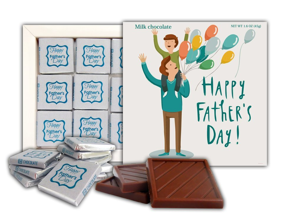 DA CHOCOLATE Cute Candy HAPPY FATHER'S DAY Chocolate Gift Set 5x5in 1 box (Balloons)