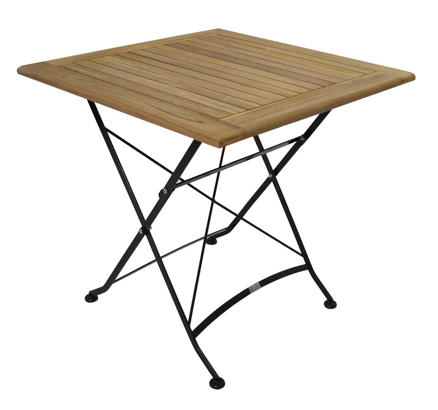 1 Tisch Klapptisch 75 x 75 Gartenmöbel Stahl Holztisch Teak Holz ...