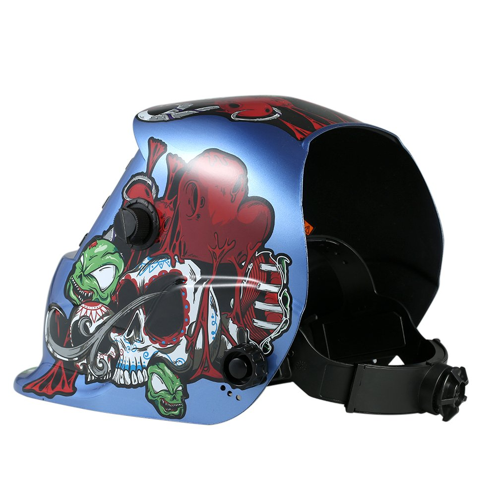 Walmeck Industrial Welding Helmet Solar Power Auto Darkening Welding Helmet TIG MIG Cartoon Zombie Design by Walmeck (Image #3)