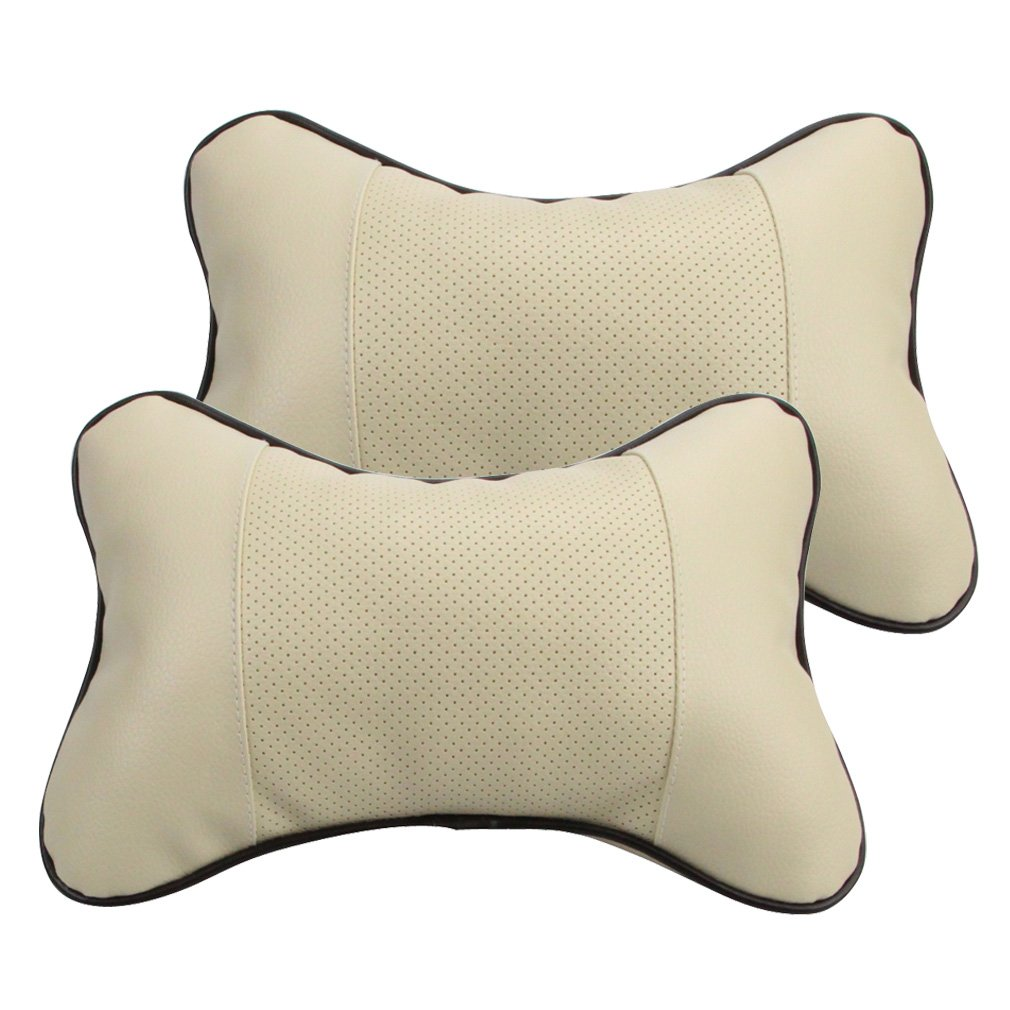 Yiizy Car Headrest Neck Pillow Breathe Hold Leather Neck Rest Cushion for Car Auto (Off White)