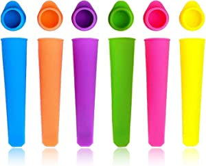 Ice Pop Molds for Kids, Leakproof Silicone Ice Popsicle Molds with Lids, DIY Reusable Ice Lolly Moulds Ice Pop Molds Popsicle Maker for Homemade Popsicle, Multi Colors - Set of 6