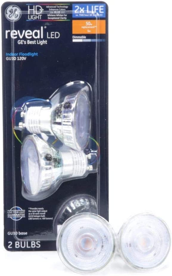 GE Reveal 50-Watt EQ LED Mr16 Color-Enhancing 34045 Dimmable Flood Light Bulb (2-Pack)