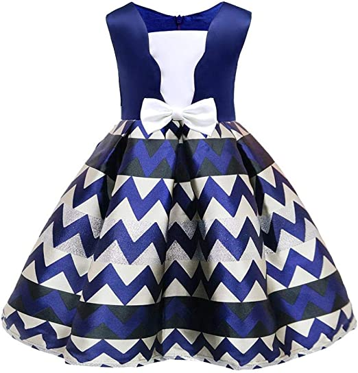 Girl striped dress Suitable for height 100-150CM Bridesmaid Communion Holiday