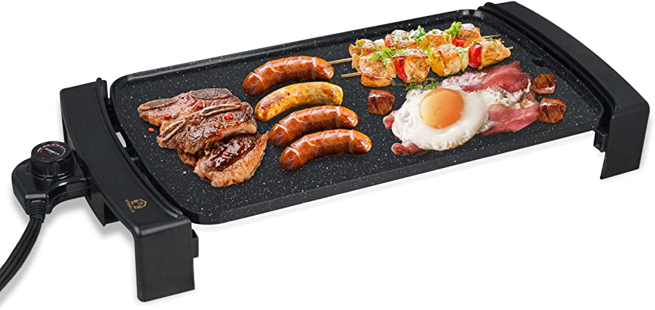 Electric Griddle Non-Stick, Smokeless Portable Pancake Griddle w Drip Tray Cool-touch Handles Temperature Control, Indoor Outdoor, 10 x21 Family-Sized Black, Non-stick coating