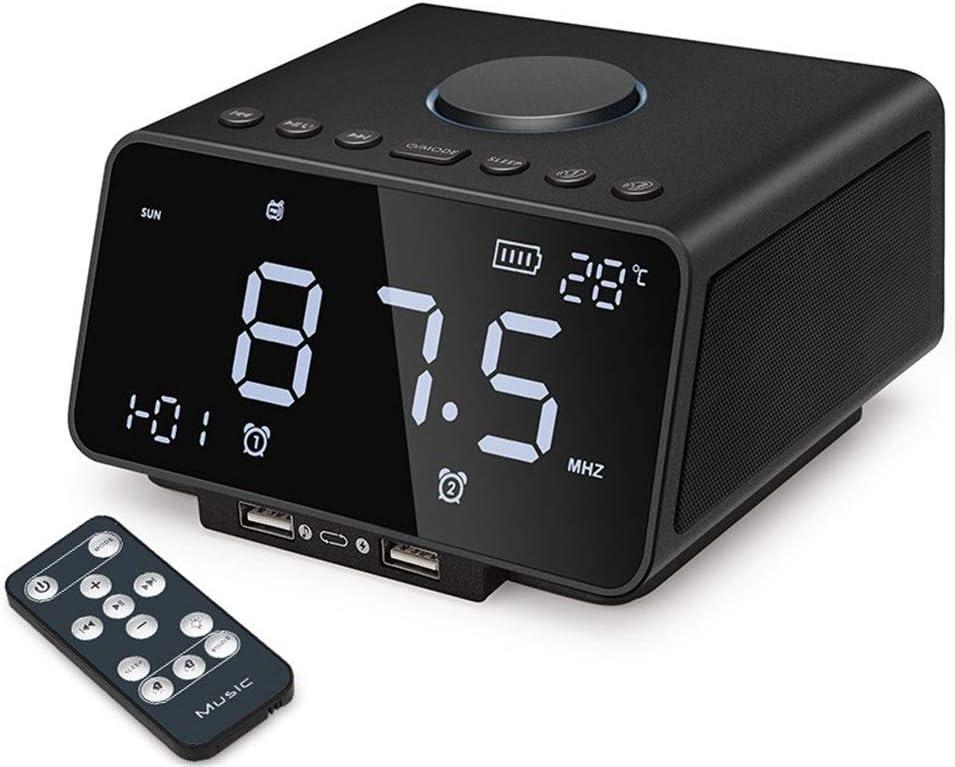 U/A Bluetooth Speaker Multifunction Bluetooth Alarm Clock Speaker Subwoofer (Color : Black)