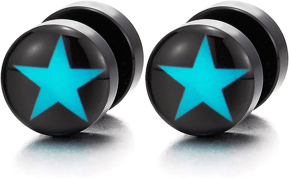 2pcs 10MM Black Circle Screw Stud Earrings with Blue Star, Women Men Cheater Fake Ear Plugs Gauges