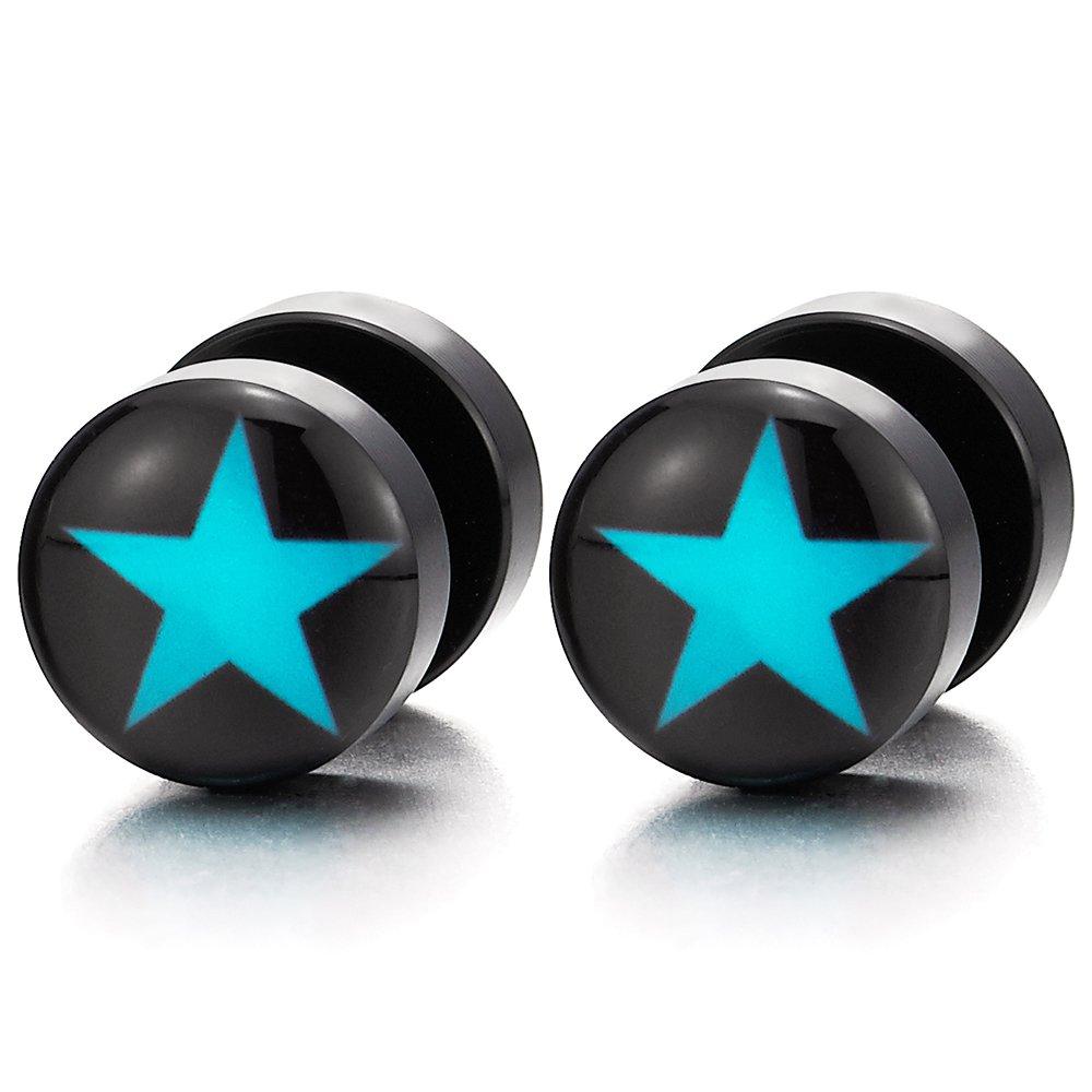 10MM Schwarz Kreis Ohrstecker Ohrringe mit Blau Stern Herren Damen Fake Plugs Ohr Cheater Tunnel Gauges Ohr-Piercing COOLSTEELANDBEYOND ME-870