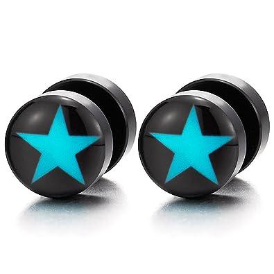 10MM Negro Círculo Pendientes con Azul Estrella de Hombre Mujer, Enchufe Falso Fake Cheater Plugs Gauges, 2 Piezas: Amazon.es: Joyería