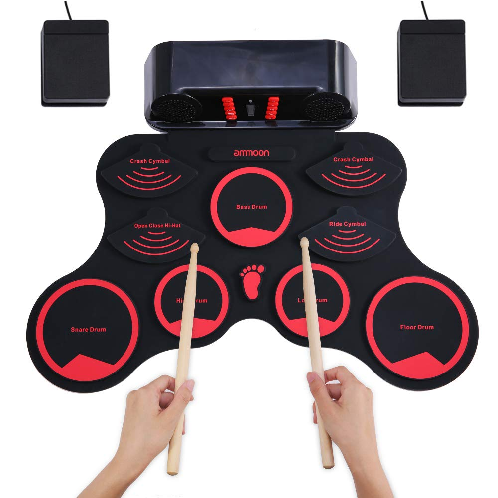 ammoon Electronic Roll-up Drum Set Digital MIDI Drum Kit 9 Silicon Durm Pads Built-in Stereo Speakers Rechargeable Lithium Battery with 2 Foot Pedals for Kids Children Beginners by ammoon
