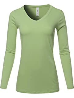 18c2284cbd424f Beautife Womens Long Sleeve V Neck Soft Cotton Loose Plain Tops T ...