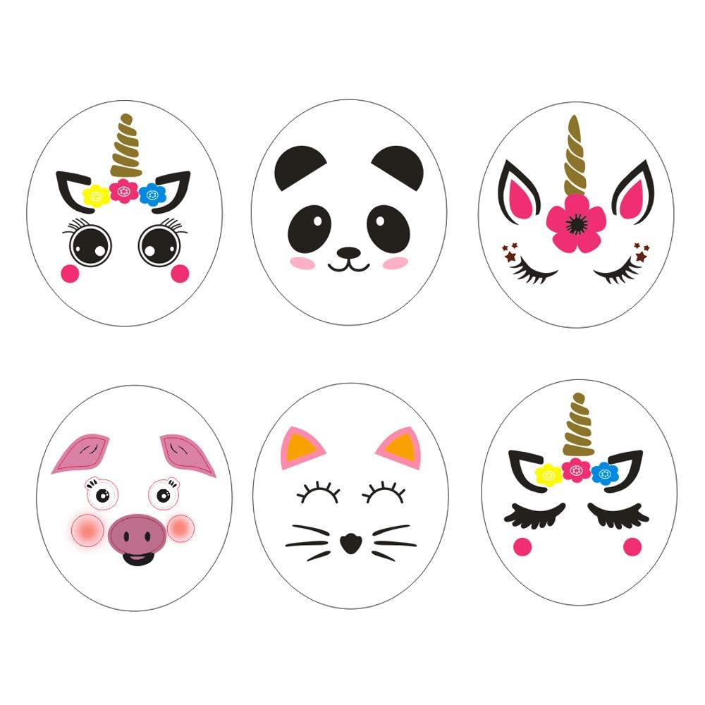 R STAR 12 Sheet DIY Art Project Balloon Sticker for Balloon Decoration, Including 3 Style Unicorn, 1 Panda, 1 Pig, 1 Cat