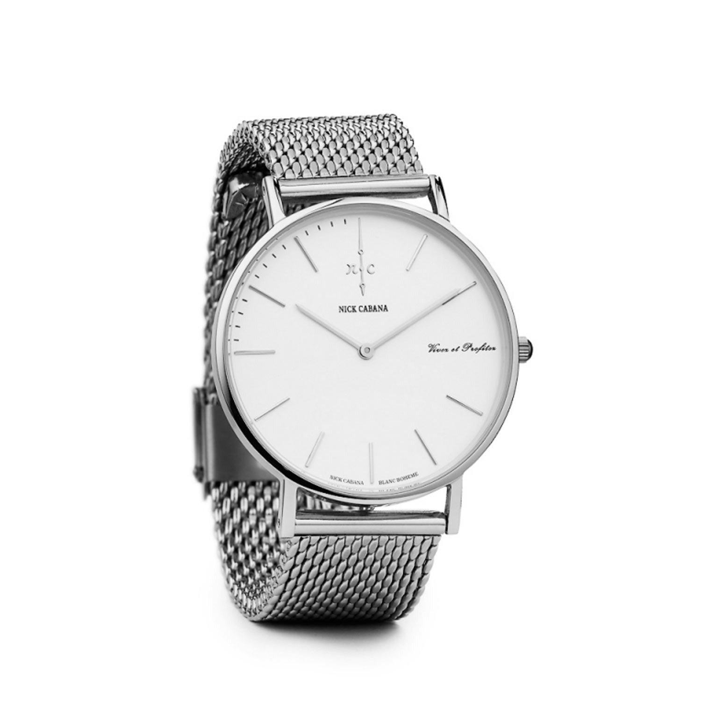 Nick Cabana Blanc Mesh 40 Armbanduhr Herrenuhr Edelstahlarmband Silber