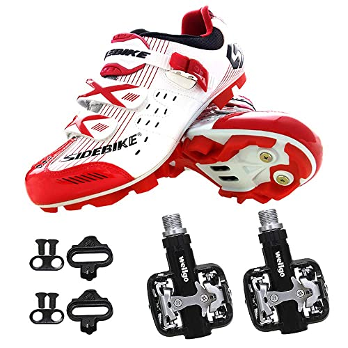 SIDEBIKE Zapatillas de Ciclismo con Pedales y Calas, Zapatos de Bicicleta de Montaña para Adultos