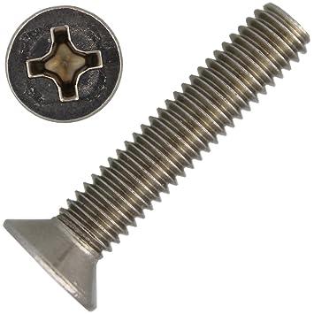 Senkkopfschrauben Kreuzschlitz 6 mm DIN 965 M 6 x 90 mm Edelstahl A2 10 Stk